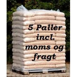 5 paller 8 mm STEENS HP træpiller (16kg sække/896kg pr.pll) incl. moms og fragt