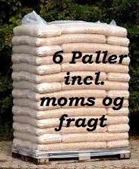 6 paller 8 mm STEENS HP træpiller (16kg sække/896kg pr.pll) incl. moms og fragt