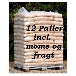 12 paller 8 mm STEENS HP træpiller (16kg sække/896kg pr.pll) incl. moms og fragt