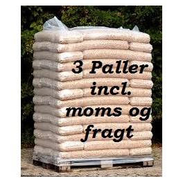 3 paller 6 mm STEENS træpiller (16kg sække/896kg pr.pll) incl. moms og fragt