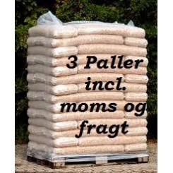 3 paller 8 mm STEENS HP træpiller (16kg sække/896kg pr.pll) incl. moms og fragt