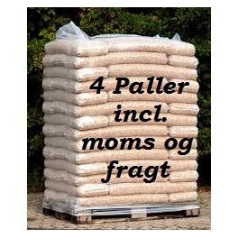 4 paller 8 mm STEENS HP træpiller (16kg sække/896kg pr.pll) incl. moms og fragt